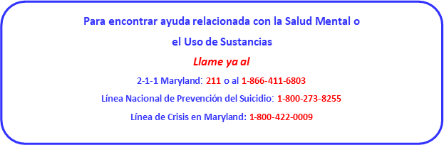 Information in Spanish from the Frederick County office concerning resources for mental health and substance use concerns.