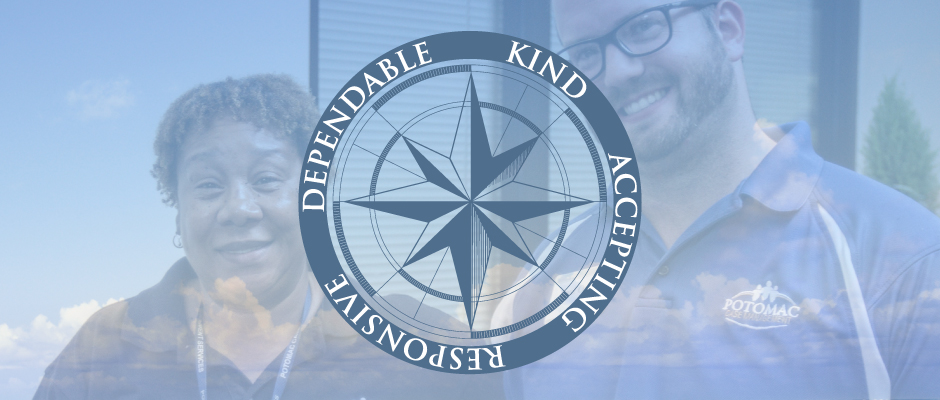 PCMS Employee Culture is reflected in the smiles of two case managers with a compass that represents our Core Values of Kind, Accepting, Responsive, and Dependable.