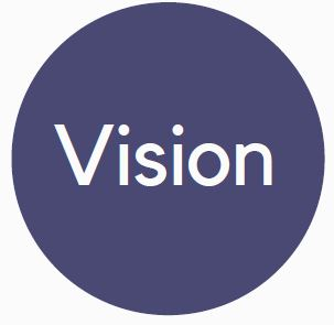 """Blue circle benefits logo with the word """"Vision"""" in the interior."""
