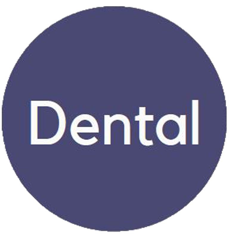 """Blue circle benefits logo with the word """"Dental"""" in the interior."""