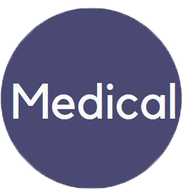 """Blue circle benefits logo with the word """"Medical"""" in the interior."""