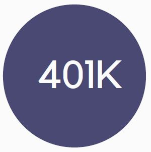 """Blue circle benefits logo with the word """"401K"""" in the interior."""