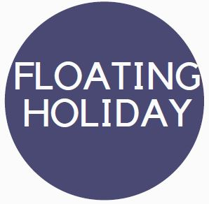 """Blue circle benefits logo with the word """"Floating Holiday"""" in the interior."""