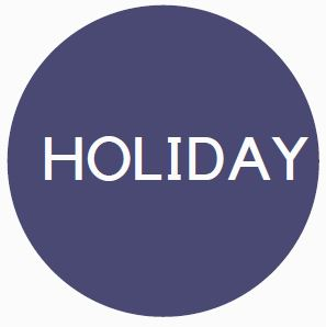 """Blue circle benefits logo with the word """"Holiday"""" in the interior."""