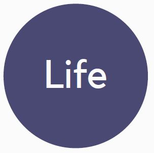 """Blue circle benefits logo with the word """"Life"""" in the interior."""
