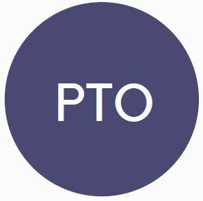 """Blue circle benefits logo with the word """"PTO"""" in the interior."""