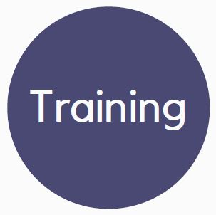"""Blue circle benefits logo with the word """"Training"""" in the interior."""